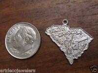 Vintage silver SOUTH CAROLINA CHARLESTON STATE MAP BEAUCRAFT charm BEAU #G