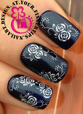 NAIL ART WRAP WATER TRANSFER DECALS STICKERS SET WHITE ROSES FLOWERS SWIRLS #144