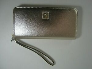 Anne Klein Platinum Met Zip Around Wallet Wristlet New $48