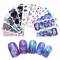 Nail Water Decals Geometric Stripe Nail Art Transfer Stickers Colorful Decors