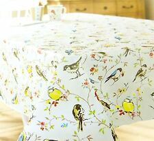 """BRIGHT PVC COUNTRY BIRDS ROUND TABLECLOTH CREAM BLUE RED 70"""" - 178CM SEATS 6 - 8"""