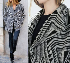 ZARA Size M/38 40 wool Ethnic Print Coat Jacket Laine Veste Manteau Dufflecoat