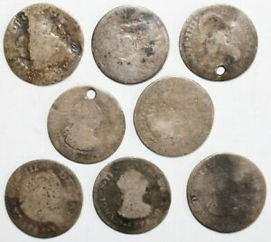 8 Coin Lot 1700's & 1800's Spanish Colonial Silver Reals 12.2 Grams Silver CULL