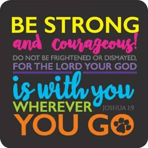 Be Strong Courageous Coaster Ideal Christian Gift Birthday Christmas Bible Verse