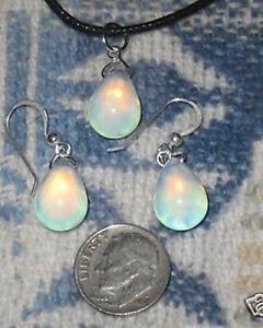 925 STERLING SILVER  BLUE SEA OPAL OPALITE GLASS PENDANT CHARM EARRINGS SET