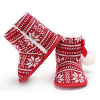 Baby Cozy Fleece Booties Christmas Snowflakes Newborn Shoes Toddler Footwear
