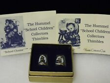 Hummel Made West Germany 2 Gold Thimbles Boxed Flower Vender Brothers Lesson