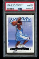 2003-04 Upper Deck MVP Carmelo Anthony Rookie PSA 10 Gem Mint RC #203 Blazers
