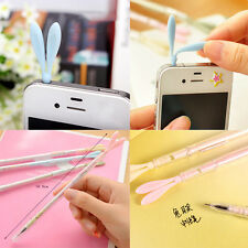 Hot Lovely 0.38mm Gel Ink Pen Anti-Dust Plug 3.5mm Phone Rabbit Ear Cap 2 in 1