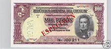 URUGUAY SPÉCIMEN 1 000 PESOS 2.1.1939 PICK 41 b S !!!!