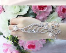 Snowflake Crystal Bracelet Slave Chain Link Finger Ring Bracelet Hand Harness