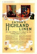 1916 Eaton's Highland Linen Letters Postman Train Stationary VTG Print Ad 1141