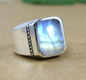 Moonstone Gemstone Solid 925 Sterling Silver Designer Mens & Boys Ring Jewelry