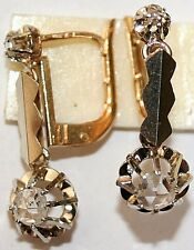 ANTIQUE FRENCH VICTORIAN 18k GOLD DIAMOND 2 STONE FINE DANGLE EARRINGS c1900