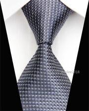Mens Wedding Silk Tie Slim Fashion Necktie Classic Plaid Skinny Grey Ties Men