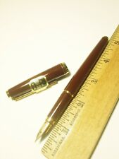 Vtg NOS burgundy PILOT Fountain Pen - large volex style f 18k nib - made 1978