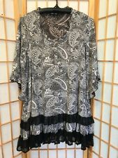 """CAROLINE MORGAN"" SIZE ""8"" *PEASANT STYLE* TOP OR DRESS.BLACK & WHITE!"