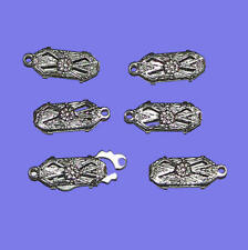 6 Clasps Filagree Art Deco White Gold Plated Engraved w/ tongue inserts