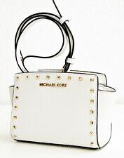 Michael Kors Shoulder Bag Selma Studded Small Messenger White Gold New