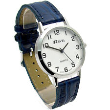 Ravel Mens Super-Clear Easy Read Quartz Watch Blue Strap White Face R0102.16.1A