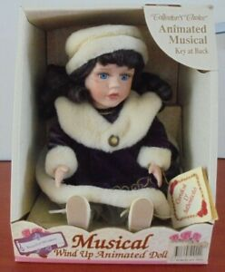 Collectors Choice Fine Porcelain Animated Musical Wind Up Doll Beautiful Dreamer