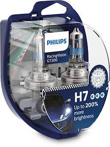 NEW PHILIPS H7 Halogen Bulbs RacingVision GT200 +200% More Light Set of 2 bulbs