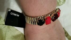 💕💕💕  MIMCO Gold Large Black/RED Crystals BRACELET WRIST one size FIT ALL💟💟