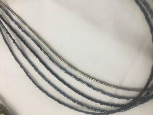 Multi row necklace with tiny beads black silver (bluey grey )
