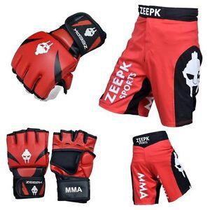 MMA GLOVES UFC SHORTS KICK BOXING MUAY THAI TRAINING COMPLETE KIT ZEEPK RED BLCK