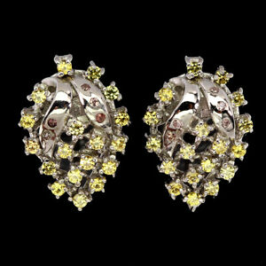 Round Yellow Sapphire Diamond Cut 1.5mm 925 Sterling Silver Earrings