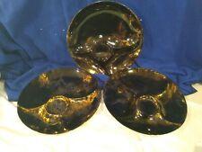 SASCHA BRASTOFF~SURF BALLET~Black & Gold~Plate/Server~Set of 3~VERY NICE!
