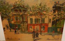 """MAURICE UTRILLO """"MONTMARTRE"""" PARIS STREET SCENE COLOR VINTAGE LITHOGRAPH"""