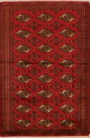 All-Over Geometric Bokhara Oriental Hand-Knotted Area Rug Foyer Red Carpet 4'x6'