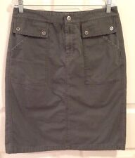 Bass Skirt Army Green 100% Cotton 4 Snap Pocket 12 Calf Length Back Vent School