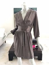 NWT STELLA MCCARTNEY BROWN METALLIC PLEATED DRESS 100% SILK SIZE IT 40 US 4