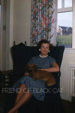 Kodak Slide 1950s Red Border Kodachrome Woman Sitting with Dachshund on Lap