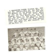 Grandview Tigers Wisconsin 1957 Baseball Team Picture