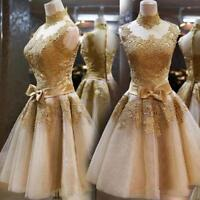 New Women Gold Evening Cocktail lace dress Formal Bridesmaid Short Party Wedding