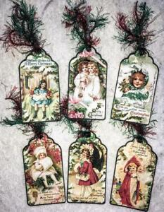 Set of 6 Hang Tags~Christmas Vintage Children~Gift Tags~Scrapbooks~Card's~#141R