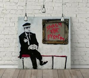 BANKSY SMASH THE SYSTEM SQUARE CANVAS WALL ART FLOAT EFFECT/FRAME/POSTER PRINT