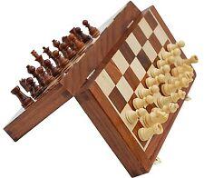 Artist Haat Handmade Wood Magnetic Travel Chess Set Staunton Folding Storage