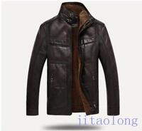 2016 Mens Coats Soft Leather Sheepskin fur lined stand collar jackets Plus Size