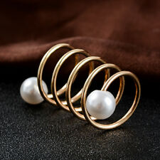 Fashion Women's Alloy Shawl Buckle Gold Brooch Pin Scarf Clip Ring Jewelry