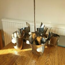 More details for mid century modern sciolari/reggiani styled chrome chandelier 55 cm h x 45 cm w