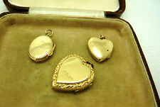 VINTAGE JEWELLERY 9CT GOLD BACK AND FRONT ETCHED PHOTO LOCKET PENDANTS