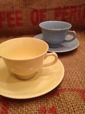 Vtg Taylor Smith LuRay Pastels Set of 2 Lot Coffee Tea Cups Saucers Yellow Blue