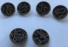 6 Vintage Mexican Handmade Copper & Brass Shank Buttons Crafts Artisan 2 Designs