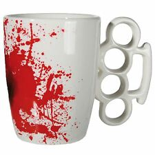 White Ceramic Knuckle Duster Mug with Blood Stain
