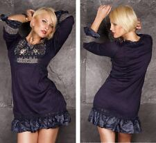Damen Strickkleid-Tunika-Patchworkkleid Damenkleid Feinstrickkleid D/38