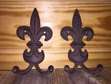 FLEUR DE LYS Vintage Cast Iron Wall Hooks Set Of Two NICE!!😃❤️